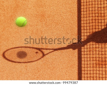 tennis court net and racket shadow with ball 28 - stock photo