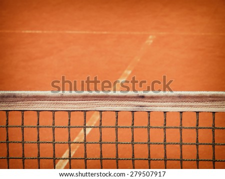 tennis court net and t-line  - stock photo