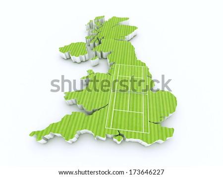 tennis court on 3d britain - stock photo