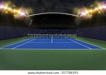 Tennis Court Stadium. - stock photo
