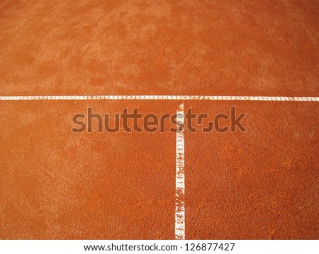 tennis court t-line  67 - stock photo