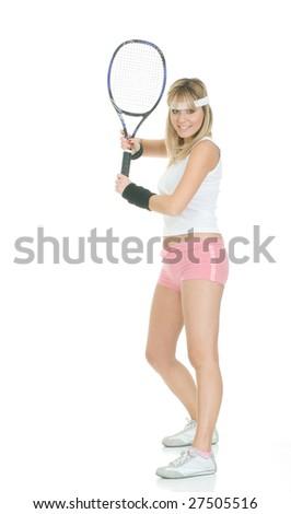 Tennis girl isolated - stock photo