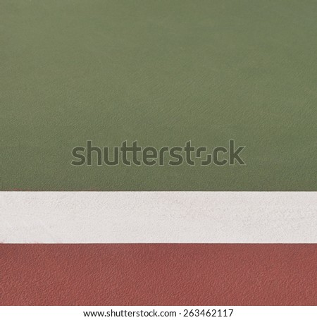 Tennis green hard court texture with white line - stock photo