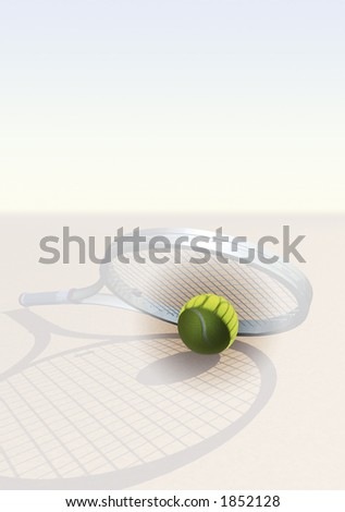 Tennis image with racquet, ball and space for text - stock photo