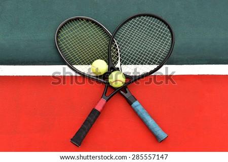 Tennis modern design, black color was cross on a hard surface tennis courts of the green line painted white and the floor outside the red zone. - stock photo