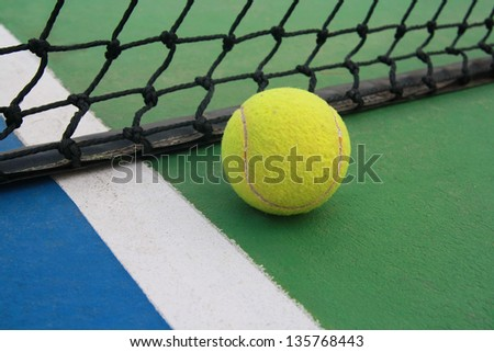 tennis on court with net - stock photo