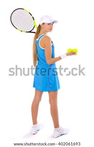 tennis player in the sports form with a tennis racket in full growth on a white background - stock photo