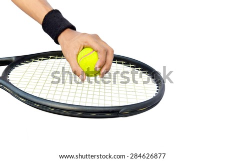 Tennis player male playing tennis    Front view of Arm man playing tennis on an isolated background  - stock photo