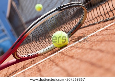 tennis racket and ball - stock photo