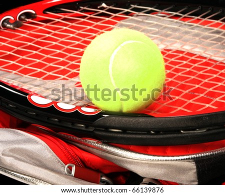 Tennis racket and ball - stock photo