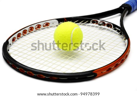 Tennis racket and ball over white background - stock photo