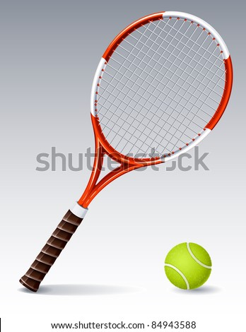 Tennis racket and ball (raster version) - stock photo