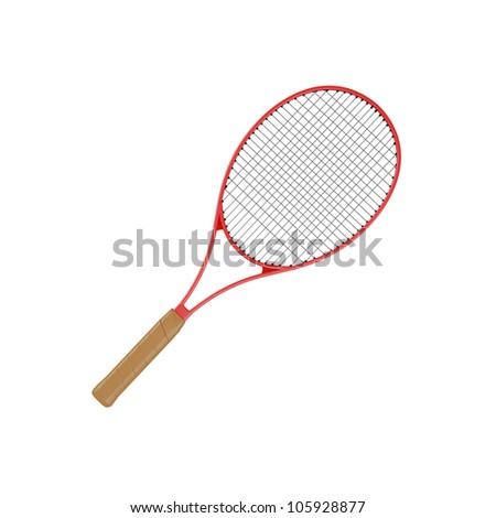 Tennis racket, isolated on white - stock photo