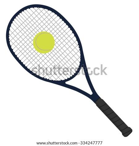 Tennis racket, tennis ball, tennis raquet, sport equipment - stock photo