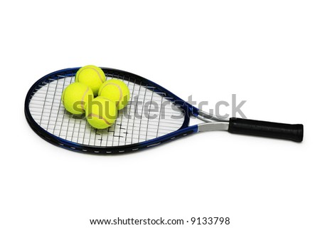 Tennis rackets and four  balls isolated on white - stock photo