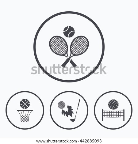 Tennis rackets with ball. Basketball basket. Volleyball net with ball. Golf fireball sign. Sport icons. Icons in circles. - stock photo