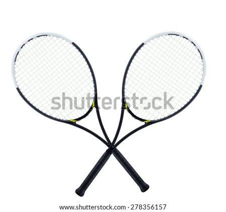 Tennis rockets isolated on white - stock photo
