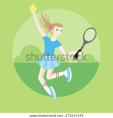 Tennis sport concept with item icons. Portrait of sporty girl tennis player with racket in flat design cartoon style. Raster version - stock photo