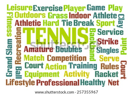 Tennis word cloud on white background - stock photo