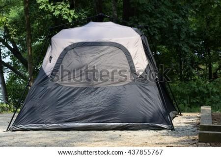 Tent camping at state park Georgia, USA. - stock photo