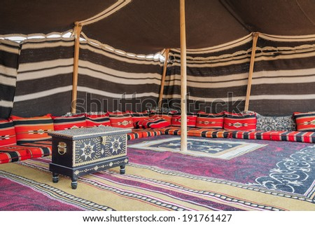 Tent desert camp Wahiba with wooden chest in Oman - stock photo