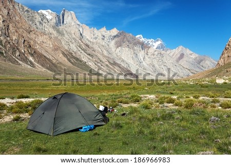 Tent  in Himalayan mountains - beautiful valley in Zanskar area - Ladakh - Jammu and Kashmir - India - stock photo