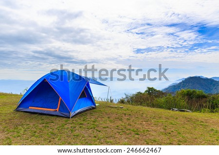 Tent in mountain, doi angkhang, Chiang Mai, Thailand - stock photo
