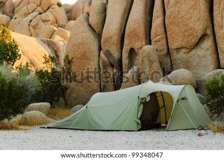 tent in the desert sandstones - stock photo