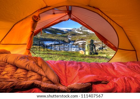 Tent Lookout Hardangervidda - stock photo