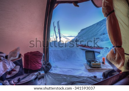Tent lookout on a Winter Trip with Ski - stock photo