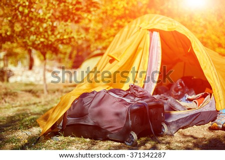tents in the camping - stock photo