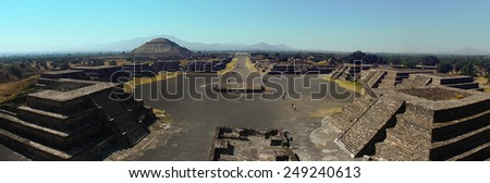 Teotihuacan as a Pre- Columbine Mesoamerican city located in a sub valley of the Valley of Mexico, Apart from the pyramids.The Avenue of the Dead. Panoramic - stock photo