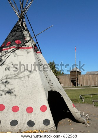 Tepee and Fort - stock photo