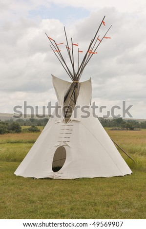 tepee on great plains - stock photo