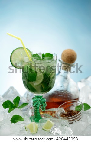 Tequila shot/ Mojito drink / Caipirinha shot/ Vodka shot / water glass /  tequila bottle - stock photo