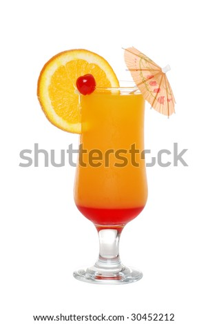 tequila sunrise with an umbrella - stock photo