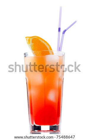 Tequila sunrise with sliced orange. Cocktail isolated over white. - stock photo