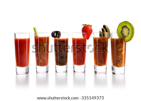 Tequila with Sangrita Chaser. Closeup shoot. Isolated over white background with reflection. - stock photo