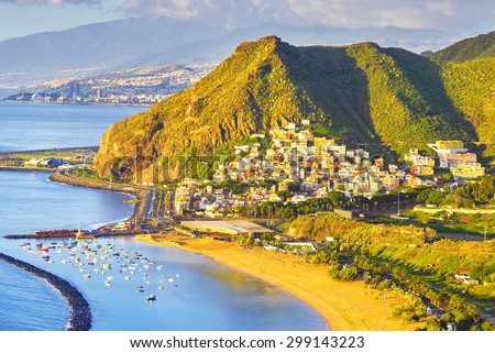 Teresitas Beach and San Andres, Tenerife, Canary Islands, Spain                                       - stock photo