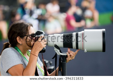 Teresopolis, Brazil - March 22, 2016: Photograph is shot with a telephoto lens of 400mm for training the Brazilian soccer team - stock photo