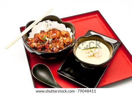 Teriyaki Chicken Rice and Chinese Steam egg - stock photo