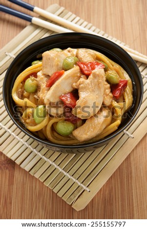 Teriyaki chicken with noodles edamame and red capsicum - stock photo