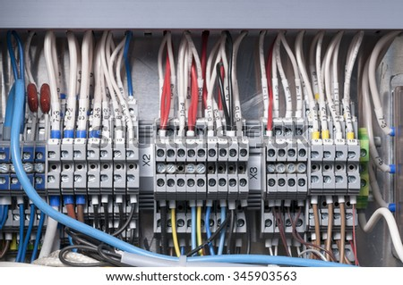 Terminal block. Industrial power case - stock photo