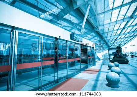 terminal entrance,automatic glass doors - stock photo