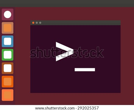 Terminal startup icon and linux interface, direct access to system via command line - illustration on vinous background - stock photo
