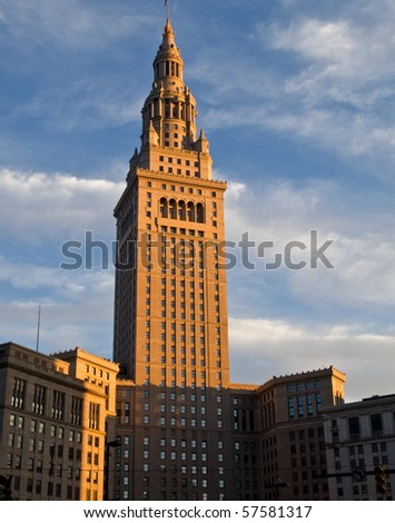 Terminal Tower, downtown Cleveland, Ohio - stock photo