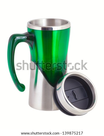 Termo mug for traveller/. Isolated on white background - stock photo