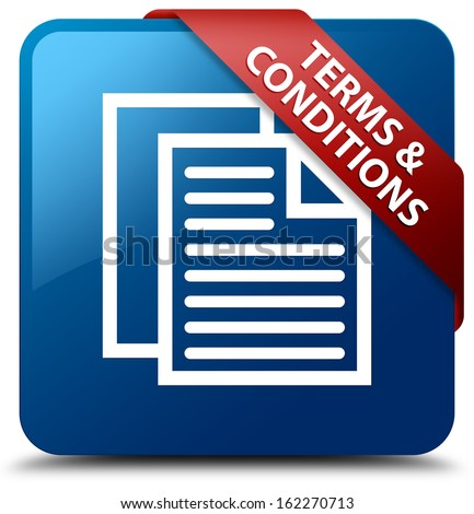 Terms and conditions glassy red ribbon glossy blue square button - stock photo