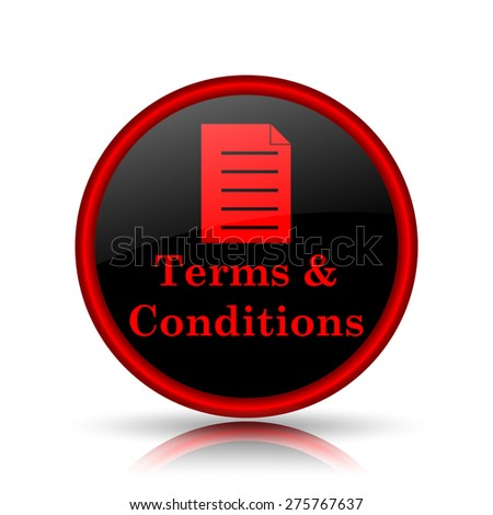 Terms and conditions icon. Internet button on white background.  - stock photo