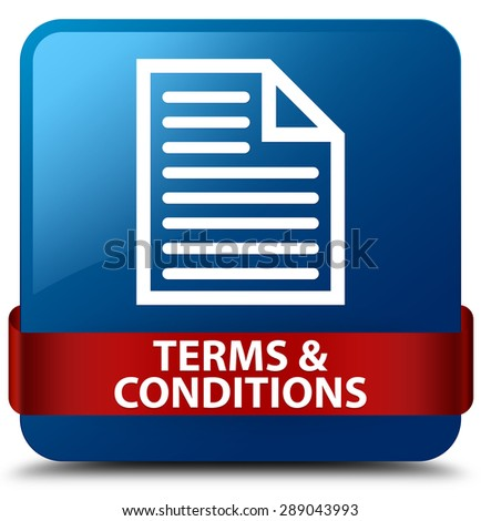 Terms and conditions (page icon) blue square button - stock photo